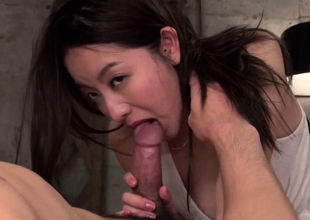Asian cutie rails the pink cigar in  -..