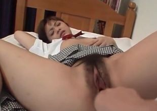 Fur covered jap chick gets her very..